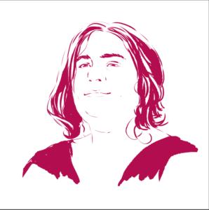 Un portrait de la créatrice du site, réalisée par une dessinatrice talentueuse